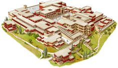 The Palace of Knossos by Claudio Prati Ancient Greek City, Ancient Greece, Fantasy Art Landscapes, Fantasy Landscape, Fantasy City, Fantasy World, Futuristic Architecture, Ancient Architecture, Knossos Palace
