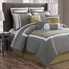 Morris 10-Piece Comforter Set in Charcoal/Multi - BedBathandBeyond.com