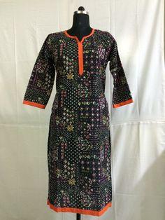 Orange piping Black color half sleeves cotton kurti