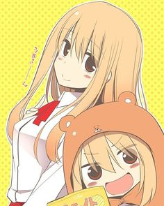 :d animal costume blonde hair blush brown eyes chibi doma umaru dual persona hamster costume himouto! umaru-chan hood komaru kurikara long hair looking at viewer open mouth school uniform shirt smile upper body white shirt - Image View - Moe Anime, Kawaii Anime, Anime Manga, Anime Art, Himouto Umaru Chan, Otaku, Death Note, Kaito, Hamster Costume