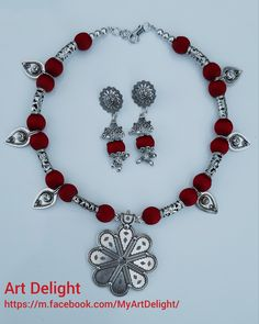 Silk thread necklace set with german silver pendant Silver Necklaces, Silver Earrings, Silver Jewelry, Silver Ring, Hammered Silver, Silk Thread Necklace, Thread Jewellery, Jewellery Making, Charm Jewelry