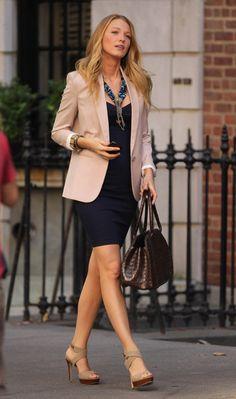 blake lively navy dress and blazer