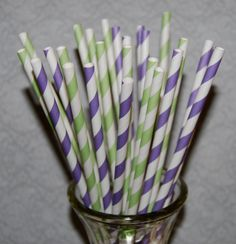 "200 purple & light green mixed barber striped paper drinking straws - with FREE Blank Paper Flags.  See also - ""Personalized"" flags option.. $32.00, via Etsy."