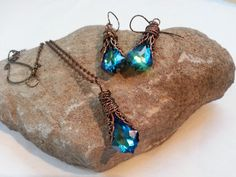 Peacock Blue Necklace & Earrings in Copper Filigree with Swarovski Luxury Wrap #ArtistiqueJewelry