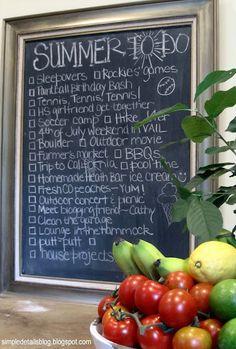 Simple Details: summer bucket list on a chalkboard. For my teacher friends. Summer Crafts, Summer Fun, Summer Time, Framed Chalkboard, Chalkboard Ideas, Heath Bars, Summer Bucket Lists, Summer Activities, Kid Activities