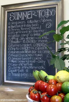 Simple Details: summer bucket list on a chalkboard.  cute idea!