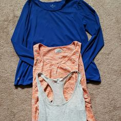 3 Athleta shirts One long sleeve blue, pure tank space dye, t back Lt Greg stripe Athleta Tops Tank Tops