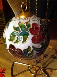14937d3ceff19 Cloisonne 3 inch Round Ornament With Hanger Coil by marjorieanns Bolas