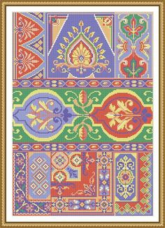 """For sale is Antique Sampler 3 with Repeating Borders, Decorative Motifs and Floral Textile Adaptation Counted Cross Stitch Pattern in PDF format. Stitch the whole designs or use small single motifs. Recreated from Des Bazar color illustration, 1874, Berlin.  Fabric – Aida 16 Count Size – 158 w x 230 h stitches – 9 7/8""""w x 14 3/8"""" h Color – 10 Threads - DMC PDF Pattern includes: 1. Color picture of design with grid and without grid. 2. Enlarged Chart of the Design in Color coded symbols and…"""