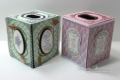 2/4/2014; Angela Barkhouse on 'JustRite Papercraft' blog; Tissue Box cover tutorial