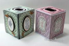 2/4/2014; Angela Barkhouse on 'JustRite Papercraft' blog; Tissue Box cover tutorial