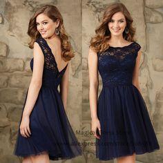 Modest Short Navy Blue Bridesmaid Dresses Lace Abiti Damigella Cap Sleeve Wedding Guest Dress 2016 Vestido De Festa Curto B2469