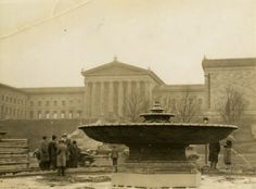 Photograph of the exterior of the Philadelphia Art Museum, circa 1936.