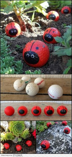 Got some old golf balls at home? Then recycle them and make Golf Ball Ladybugs! Got some old golf balls at home? Then recycle them and make Golf Ball Ladybugs! Got some old golf balls at home? Then recycle them and make Kids Crafts, Art Crafts, Kids Diy, Kids Outdoor Crafts, Family Crafts, Crafts To Do, Garden Projects, Craft Projects, Garden Ideas Diy