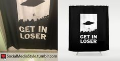 "Buy Lena Dunham's ""Get in Loser"" UFO Shower Curtain, here!"