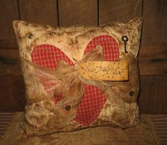 PrimiTive VALENTINES KeY Heart Grungy QUILTED Button Pillow TaG Shelf DecoraTion #NaivePrimitive #MelissaHarmon