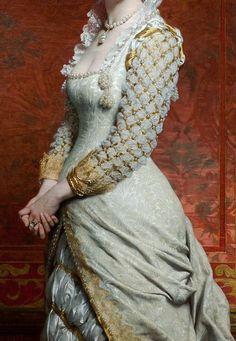 """Detalle del """"Retrato de una dama"""". Pîerre Auguste Cot (1837-1883)."""