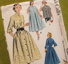 1950s Vintage Sewing Pattern -  Button Front Tent Dress, Robe or Coat -  McCall 9385 / Size 16