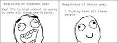 Freshmen vs Senior year funny meme | Funny memes and pics