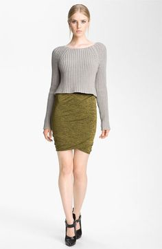 Cute cropped sweater and skirt combo. Would have been better if the sweater was in cream or white though :)