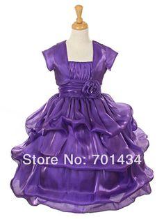 >> Click to Buy << Purple Spaghetti Strap A-Line Flor menina Vestido Short Sleeve Floor-length Pretty Flower Girl Dress Free Shipping Girl Dress #Affiliate