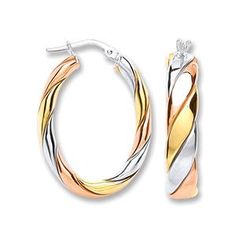 f62e6f862 A fabulous pair of 3 tone oval shaped hoop earrings that are a staple in  any. Mon Bijoux