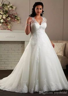 Classic V Neck Plus Size Wedding Dress Sheer Cap Short Sleeves A Line Princess Designe Beaded Pleated Long Bridal Wedding Dresses Gown Cheap Simple Wedding Dress Black And White Wedding Dresses From Yoyobridal, $124.63| Dhgate.Com