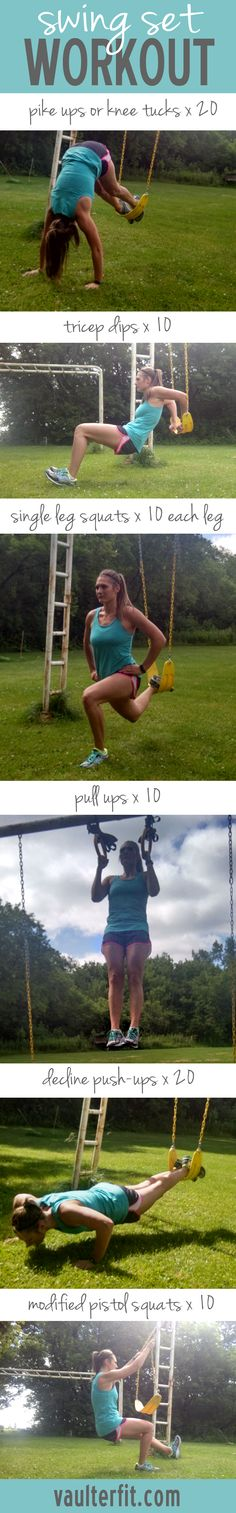 Swing Set Workout - Looking to shake up your workout? Get outside to your backyard or park this summer and give this challenging workout a try!