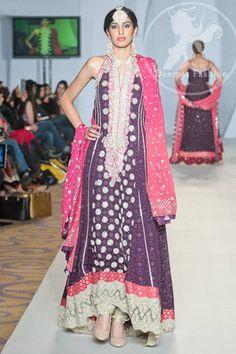 Dark Purple Shocking Pink Heavy Neckline Pishwas | Latest Pakistani Fashion 2013 Bridal Dresses Formal Wear