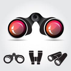 Black Binocular with Red Lenses vector art illustration