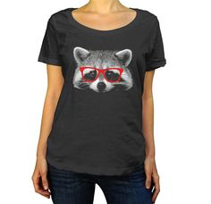 Hey, I found this really awesome Etsy listing at https://www.etsy.com/listing/198226910/raccoon-with-glasses-scoop-neck-top