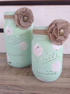 Mint green and white painted mason jars rustic decor flower vases hostess gift  on Etsy, $16.00