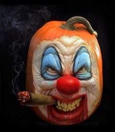 Scary Clown Pumpkin Sculpture/Carving by Ray Villafane