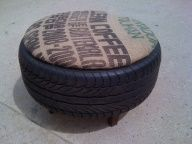 Used burlap and tire ottoman.  Perfect for extra outside seating.