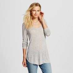 Women's Long Sleeve V-Neck Tee Light Gray Xxl - Mossimo
