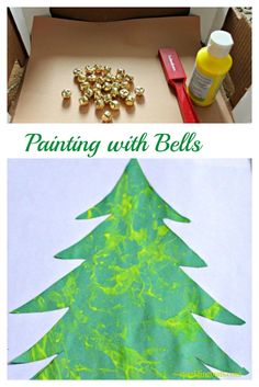 A simple painting done using Christmas bell and magnet