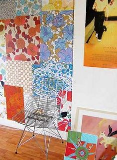 patchwork wall with geometric and floral patterns