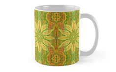 """Sun Flower, bohemian floral pattern, yellow, green & orange"" Mugs by clipsocallipso | Redbubble"