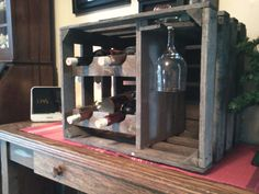 wooden apple crate wine and glass racks by Applegroveadirondack, $25.00
