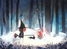 Bruxa floresta, magia.