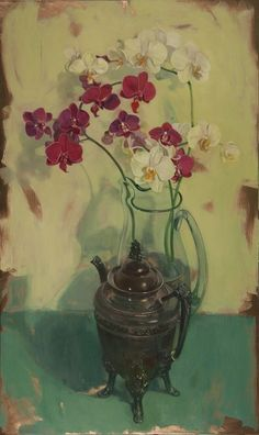 """Benjamin Shamback-""""Orchids with Silver Pitcher on Green"""""""