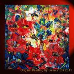 Original Modern Impressionist Abstract Palette by LUIZAVIZOLI, living room painting