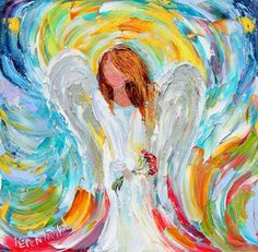 Angel with flowers - Great abstract colors!