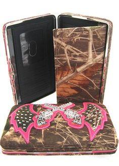 The Texas Cowgirl - Pink Mossy Oak Camo Rhinestone Pistol Wing Western Wallet, $19.99 (http://www.thetexascowgirl.com/pink-mossy-oak-camo-rhinestone-pistol-wing-western-wallet/)