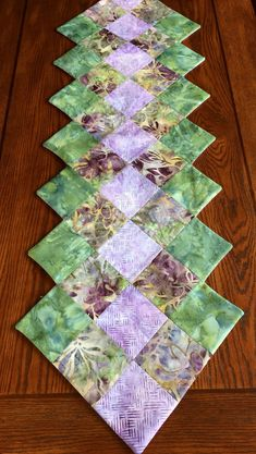 Batik Table Runner - Spring Table Runner - by AlidanCreations on Etsy Quilted Table Runners Christmas, Christmas Runner, Table Runner And Placemats, Table Runner Pattern, Small Quilts, Mini Quilts, Lap Quilts, Quilting Projects, Sewing Projects