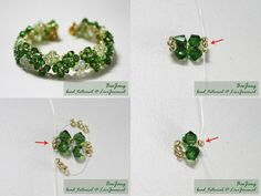 How to make a beautiful bead bracelet. Let's start    What is needed?  Crystal Bicone 4mm (green crystals and transparent)  small beads 11/0 (gold)  thread n.20  accessories (zip)  How it's done?  Cut thread a length of about 150-200 cm.  Type 3 starting small beads.  Then