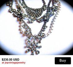 Wedding  chunky, pearl and rhinestone bib necklace