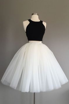 Simple Black and White Two Pieces Homecoming Dresses,Halter Homecoming Dresses,Cute Prom Dress,Party Dresses