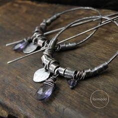 Iolite or garnet  hoop raw sterling silver by studioformood