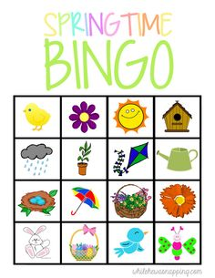 This is a great way to welcome Spring! Play a fun game of Springtime Bingo with the kids! This free spring bingo printable is perfect for rainy days, with your spring preschool unit, or just for fun! Spring Projects, Spring Crafts, Spring Activities, Spring Preschool Theme, Preschool Activities, Spring For Preschoolers, Spring Break, Spring Watch, Preschools